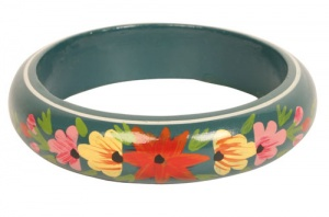 Bangle wood teal with multicolour flowers