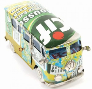 Campervan made from recycled cans.
