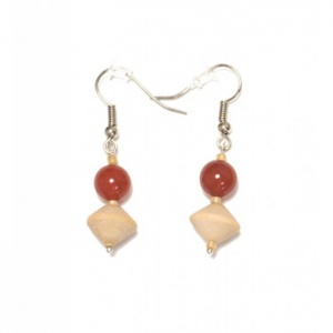 Carnelian and wood earrings