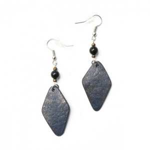 Ostrich earrings, blue denim diamant
