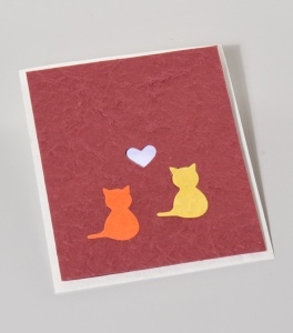 Mulberry paper cat red card