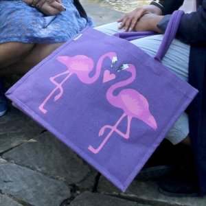 Jute bag flamingoes
