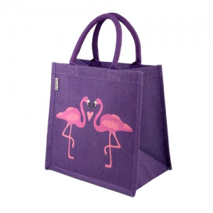 Jute bag flamingoes square