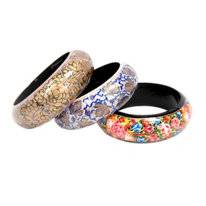 Paper mache bangles, set of 3 bracelets