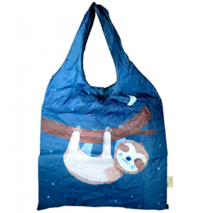 Shopping bag made of recycled plastic bottles, sloth design