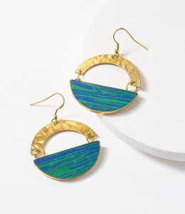 Ria earrings blue green swirl