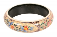 Paper mache bangle, cream and blue