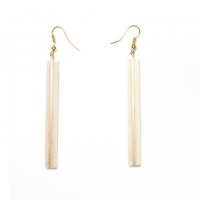 Stick horn and brass earrings