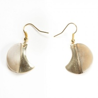 Half moon horn and brass earrings