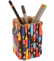 Pen pot made of recycled crayons