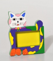 Photo frame cat, colourful