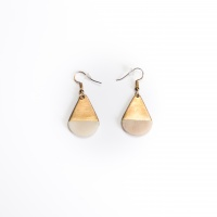 Tear earring, bone and brass