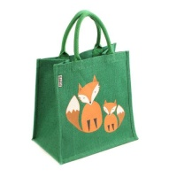 Green jute bag with foxes