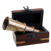 Brass telescope in box