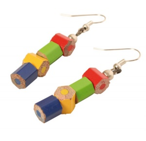 Earrings in recycled crayons