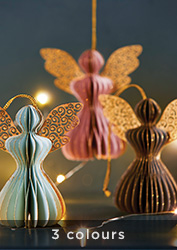 Set of three pastel angel decorations