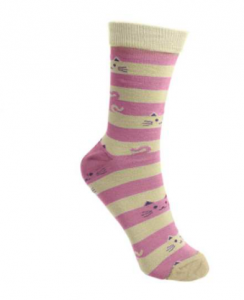 Bamboo socks women stripes and cats