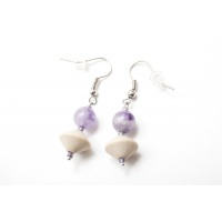 Amethyst and wood earrings