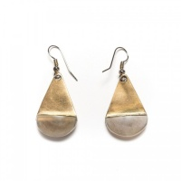 Tears horn and brass earrings